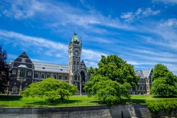 The University of Otago Registry Building, also known as the Clocktower Building