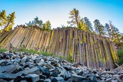 The unusual rock formation of columnar basalt at Devils Postpile National Monument, California