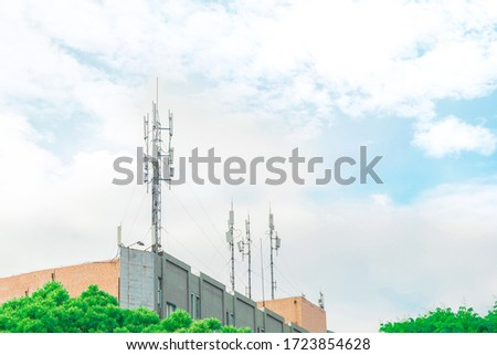 The upgraded signal tower that transmits 5G and 4G signal. Cellphones send and receive signals via the tower.  It used to be the signal tower that transmited television and radio signal.