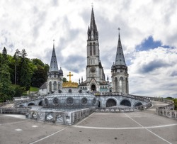 The Upper Basilica with gilded crown in Lourdes