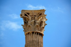 The upper part of the gigantic marble columns of the ancient Temple of Olympian Zeus is decorated with unusual carved capitals of the Corinthian order.