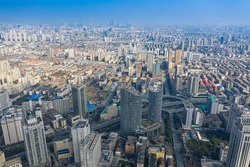 The urban architectural scenery of Nanchang High-altitude City, Jiangxi Province, China