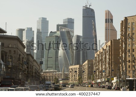the urban landscape. picturesque views of the skyscrapers of Moscow City #400237447