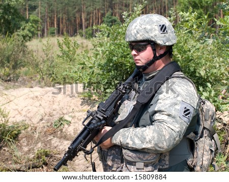 The US Army soldier on patrol