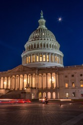 The US Capitol At Night With Moon Shining Up Above, Light Painting