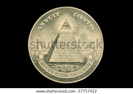 The US dollar bill great seal isolated on black