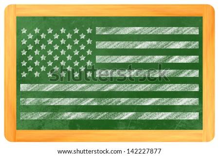 the us-Flag drawn on a backboard