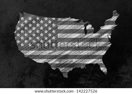 the us-Flag in shape of the usa drawn on a backboard