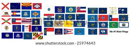 The 50 US State Flags