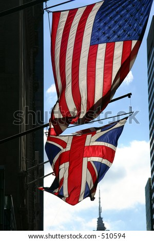 The USA and UK Flags on 5th Avenue in New York City