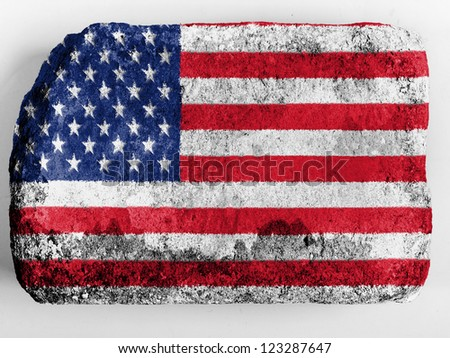 The USA flag  painted on brick