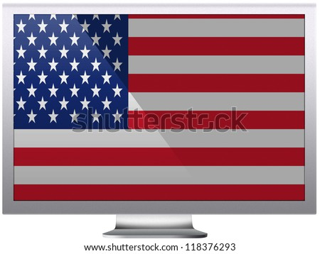 The USA flag painted on grey aluminum monitor
