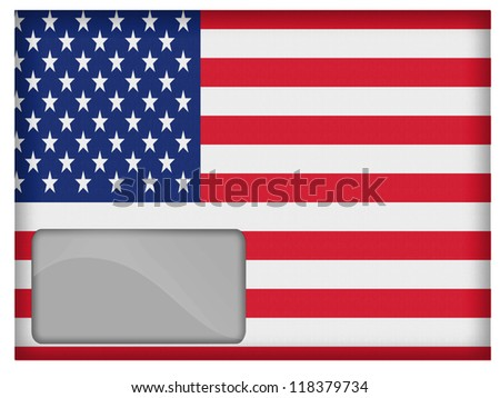 The USA flag painted on postal envelope