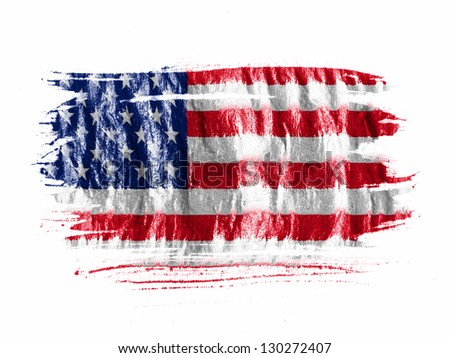 The Usa Flag Painted With  Abstract American Flag Painting