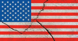 The USA national flag icon isolated on broken weathered cement wall with cracks, America national flag texture pattern wallpaper, abstract United States political conflict concept pattern background