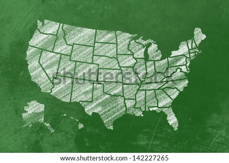 the usa with its single states drawn on a blackboard