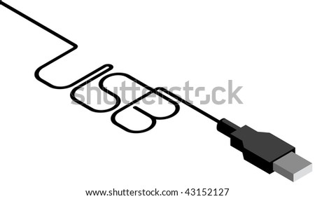 The USB cable and plug with Inscription, isolated