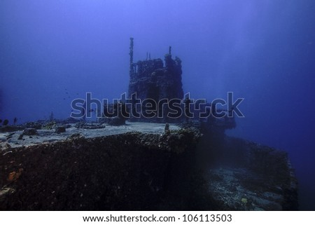 The USCG Duane in Key Largo, Florida. A sunken shipwreck in the John Pennekamp State park. A ship sunk intentionally as an artificial reef.