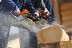 the use of chainsaws when building a house