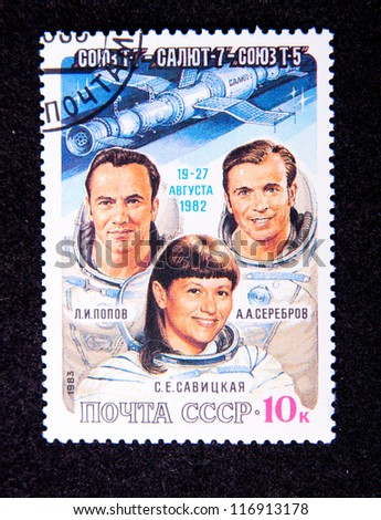 The USSR - CIRCA 1983: crew of the pilots who have visited space, circa1983.