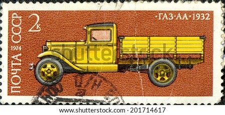 The USSR - CIRCA 1974: the press printed in the USSR, shows the GAZ-AA-1932 car,CIRCA 1974