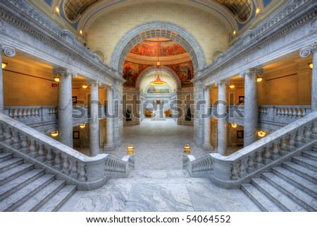 The Utah State Capitol is located on Capitol Hill, overlooking downtown Salt Lake City, Utah.