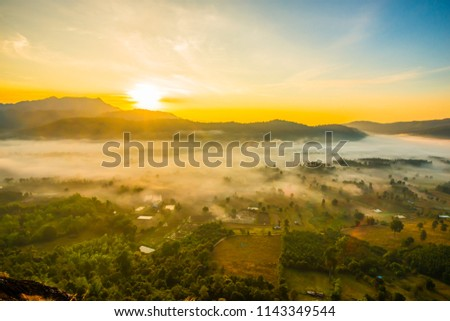 The valley in the lower northern part of Thailand must take a walk up the mountain to see the spectacular mist. #1143349544