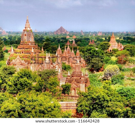 the valley of Bagan in the asian country Myanmar consists thousands of ancient temples and pagodes, all UNESCO protected
