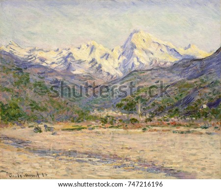 The Valley of the Nervia, by Claude Monet, 1884, French impressionist painting, oil on canvas. In the Italian Riviera, river Nervia River flows into the Mediterranean, with the snowcapped Maritime Alp
