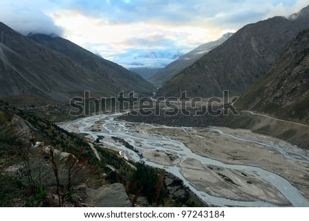 The valley with river in mountains. Ladakh. Himalayan scenic. India.