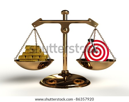 The value of Target. On a golden balance, are compared in a target symbol and a lot of gold bullion, computer-generated conceptual image.