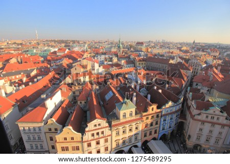 The vantage view of Old Town of Prague from the Town Hall Tower.