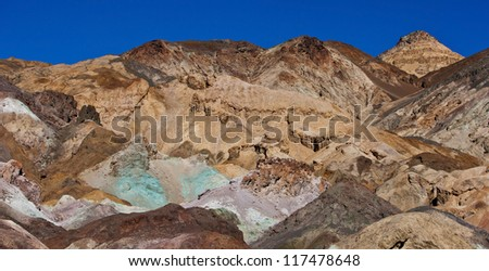 The variegated slopes of Artists Palette in Death Valley, California. Various mineral pigments have colored the volcanic deposits found here.