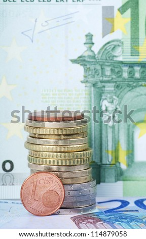 The various Euro coins against banknotes Euro