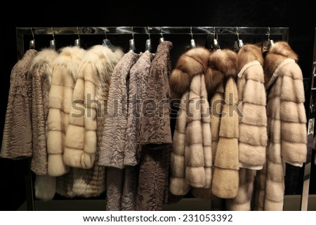 The various fur coats at the store
