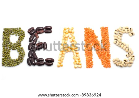 the various sorted dry beans in different colors