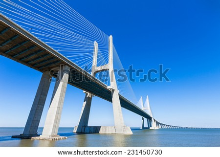 The Vasco da Gama Bridge in Lisbon, Portugal. It is the longest bridge in Europe