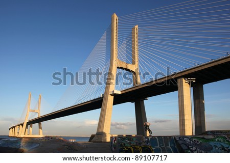 The Vasco da Gama Bridge is a famous sight in Lisbon / Portugal