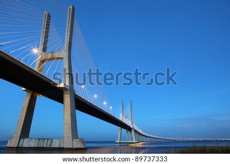 The Vasco da Gama Bridge is a famous sight in Lisbon / Portugal