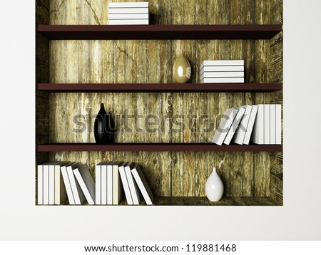 the vases and the books on the shelves, rendering