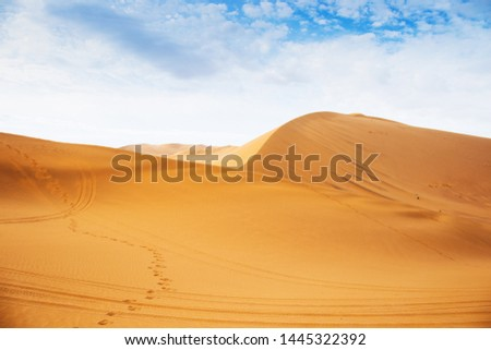 The vast expanse of desert on a clear summer day, this is China's desert in the west of Dunhuang, Gansu Province