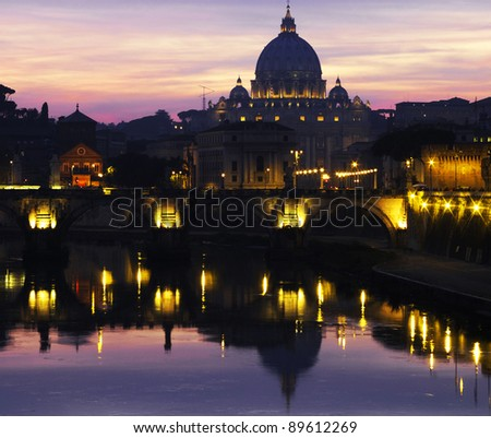 The Vatican at dusk
