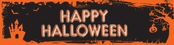 The vector Halloween web banner billboard size orange grungy border template background with bats, pumpkin and castle house