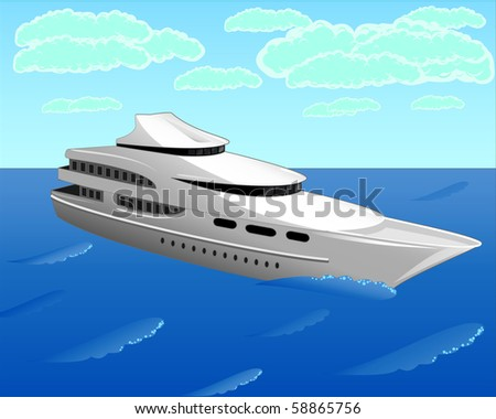 The vector illustration contains the image of the white yacht (you can find the same vector illustration in my portfolio)