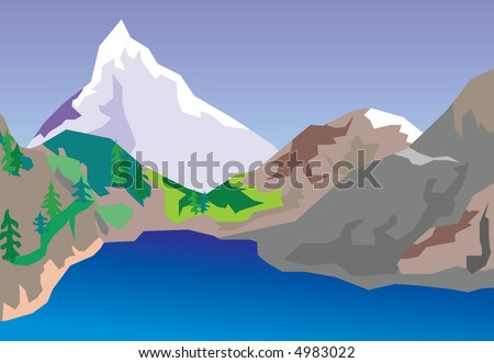 The vector image of the lake located in mountains. The raster version