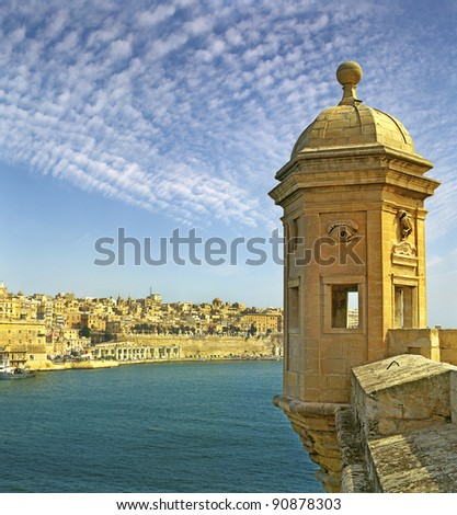 The Vedette in Senglea, against the backdrop of Grand Harbour and Valletta in Malta, UNESCO World Heritage Site