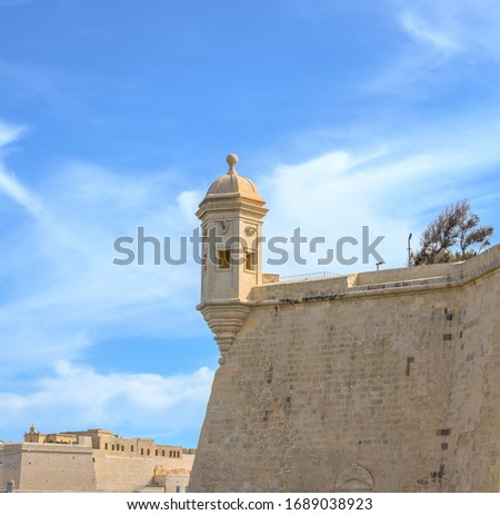 The Vedette Watchtower at the tip of the peninsula in Senglea, Malta. It is carved with an ear and an eye. Stock fotó ©