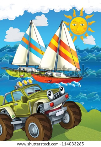 The vehicle and the ship - illustration for the children