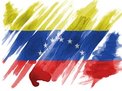 The Venezuelan flag  painted with watercolor on paper