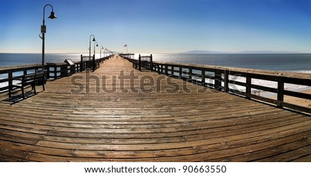 The Ventura Pier with Santa Cruz Island in the background.